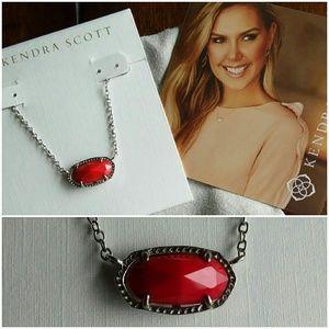 Kendra Scott Silver & Red Elisa Necklace
